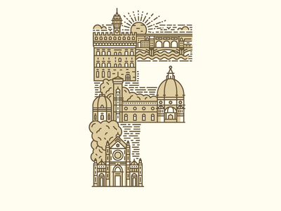 F is for Firenze typography type italy letter illustration vector line firenze f 36 days of type