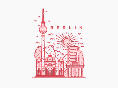 Berlin lines lineart vector illustration city vector line berlin