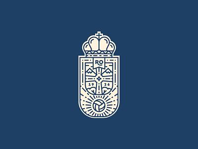 Real Oviedo Crest cross ball logo soccer football badge crest oviedo illustrator outline line illustration vector