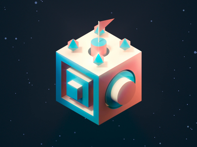 Isometric space animated gif gif animated loop animation render 3d art 3d c4d stars space geometry isometric illustrator illustration vector