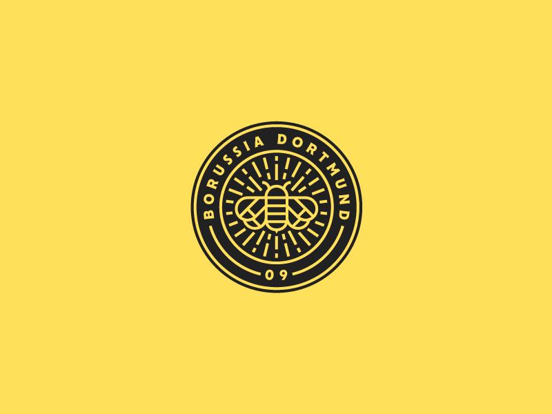 Borussia Dortmund Crest dortmund borussia lineart bee logo geometry illustrator outline line icon illustration vector graphicdesign football design branding badge design badge