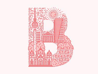 B is for Berlin illustrator linework lineart vector line typography letter illustration berlin b 36 days of type