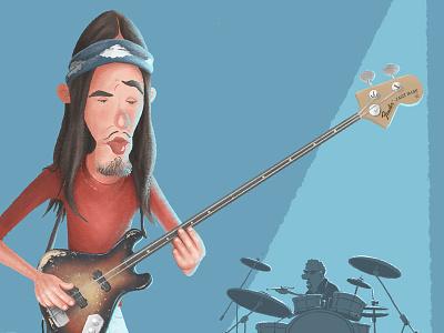 Jaco Pastorius drummer bass guitar jaco pastorius music illustration jazz character design