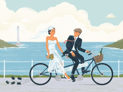 Bicycle Made For Two love celebration tandem bike bicycle ocean couple marriage