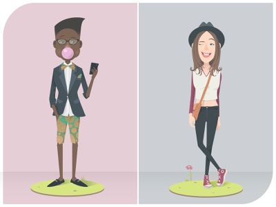 Modern characters vector trendy cute fashion hipsters character design