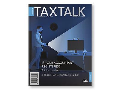 Illuminate editorial illustration blue and white financial services magazine cover vector