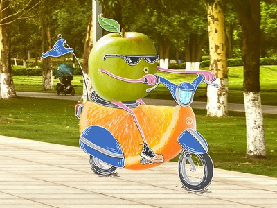 Fruit brand orange apple scooter character design fruit advertising campaign