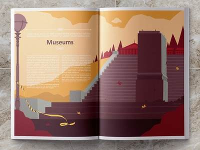 Museum magazine digital illustration limited color palette illustrydom vector artwork editorial illustration abandoned museum museums