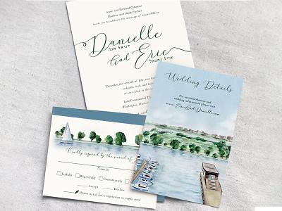 Original Wedding Invitation water color wedding invitation
