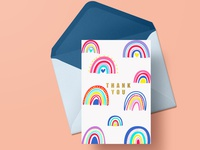 Thank you card Illustration gold foil rainbows rainbow trout rainbow doodling card design illustrations illustration design illo illos stationary design print design thankyou thank you card doodleart oddbodies illustration greeting card design greeting cards greetingcard