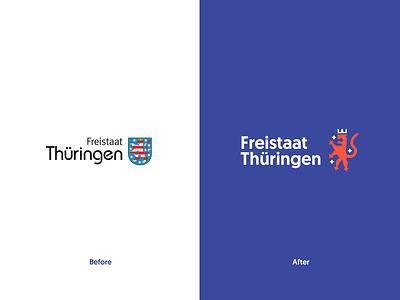 Freistaat Thüringen Redesign - Logo Comparison redesign comparison logo comparison tobias möritz tobimori thüringen thueringen thuringia corporate identity typography corporate design branding logo design lion logomark