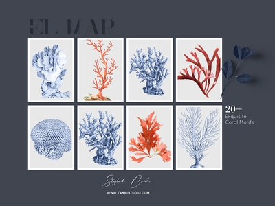 Print patterns and motifs crustacean corals ocean sea handpainted fabric art design patterns prints textiles seamless watercolor illustration