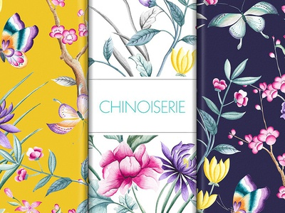Chinoiserie Chic handpainted watercolor art indian floral fabrics textiles design seamless patterns prints chinoiserie