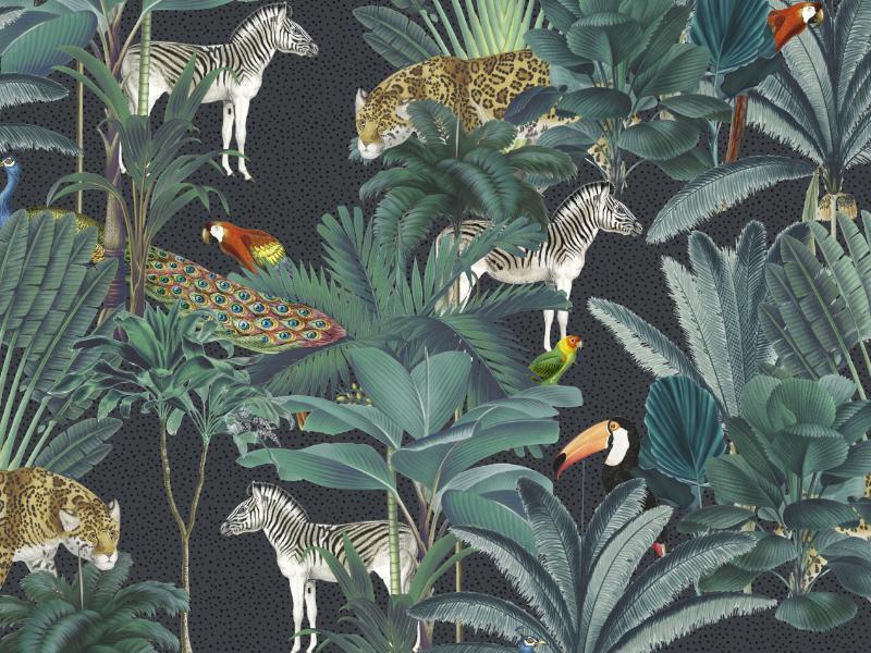 Royal Palms jungle tropical animals illustration florals fabric design textiles seamless prints patterns