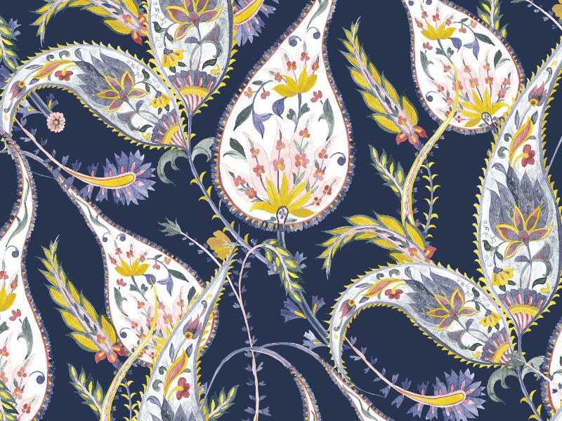 Paisley Elegance paisley fabrics handpainted art watercolor illustration fabric florals design textiles seamless prints patterns