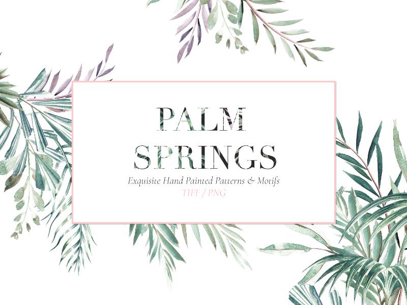 Palm Springs fresh design leaves fresh textile fabrics designs handpainted watercolor art illustration fabric florals design textiles seamless prints patterns