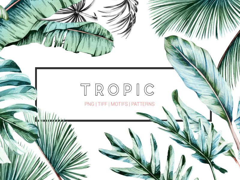 Tropic tropical palms textile fresh leaves designs handpainted watercolor art illustration design textiles seamless prints patterns