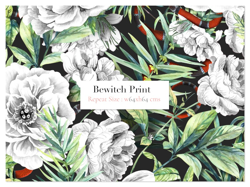 Bewitch leaves designs handpainted watercolor art fabric illustration florals design textiles seamless prints patterns