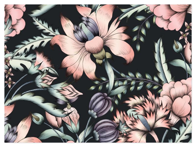 MidSummer designs handpainted watercolor fabric art illustration florals design textiles seamless prints patterns