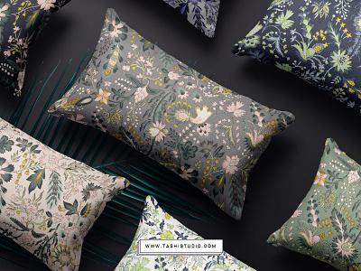 kemal5 fabric art watercolor illustration florals design prints textiles seamless patterns