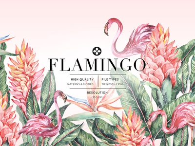 flamingo pattern design tropical leaves palms animals birds aw2020 decor home fashion ss20 artwork tropical print tropicals watercolor florals illustration prints design textiles seamless patterns