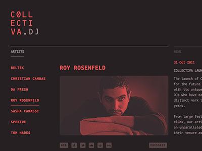 collectiva.dj collective agency dark black red web ui logo typography minimal techno music ocr monospace