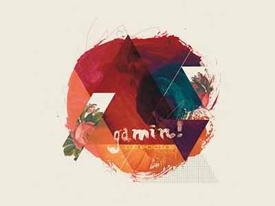 Gamin tempera brush illustration abstract circle triangle handdrawn mixed media typography msced retro