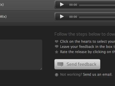 Press & Play form black dark music techno form validation button icon send ui web textaera