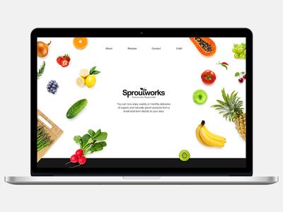 Sproutworks Hero Redesign  logo redesign desktop macbook responsive veggies fruits hero