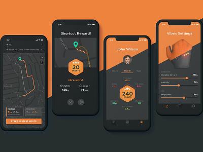 VibrisPro > Smart bike gloves app branding datavisualization map ui mobile app wearable tech wearables user interface