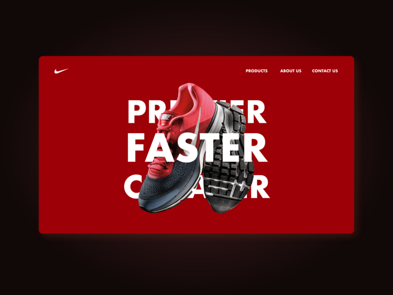 Faster: the fastest shoe made by nike shoe illustration adobe website landingpage design nike