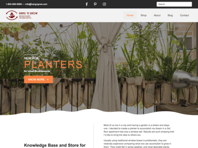 UI/UX design, Logo Design, Branding for Hang 'N Grow website