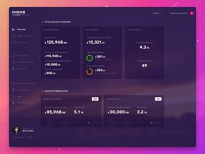 Choice Design for ISA Accounts Dashboard design ui ux finance fintech dashboard