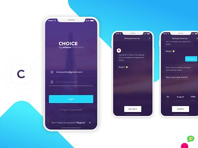 Choice iOS - Chatbot Registration bot chat register ux ui design app ios