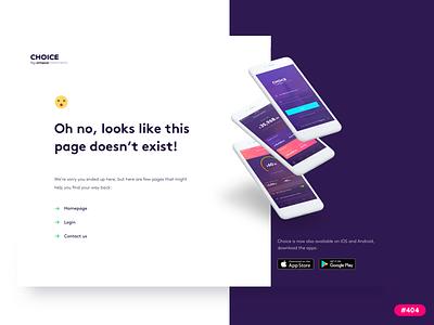 Error page redesign for Choice finance webdesign design fintech ux ui error page 404