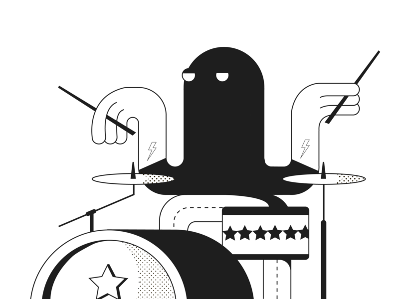 drummer inspired by Eran Mendel vector illustration web  design desigh website photoshop illustrator
