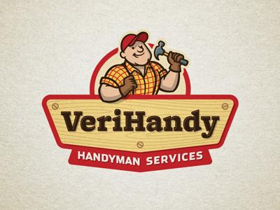 VeriHandy gds logo handyman construction hammer character mascot cartoon graphic d-signs