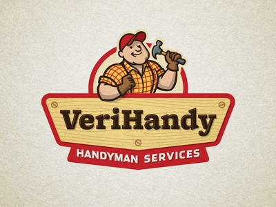 VeriHandy gds logo handyman construction hammer character mascot cartoon graphic d-signs