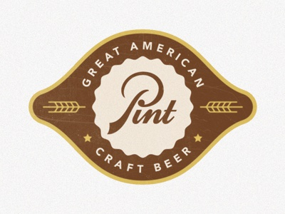 Pint beer logo vintage retro script lettering hand lettering