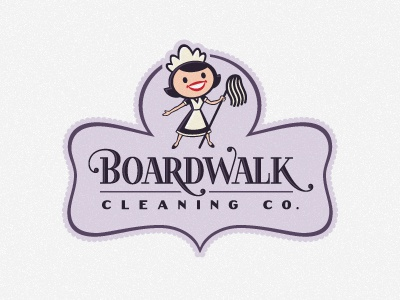 Boardwalk Cleaning logo cartoon retro shape panel enclosure character female woman mop cleaning lettering maid feminine