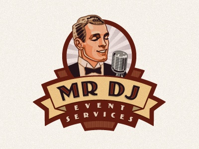 Mr Dj logo art deco illustration illustrative logo