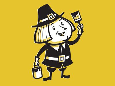 Pilgrim Character painting painter paint 1950s mid-century retro mascot character illustration cartoon pilgrim