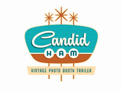 Candid Ham 1950s retro lettering script logo sign mid-century