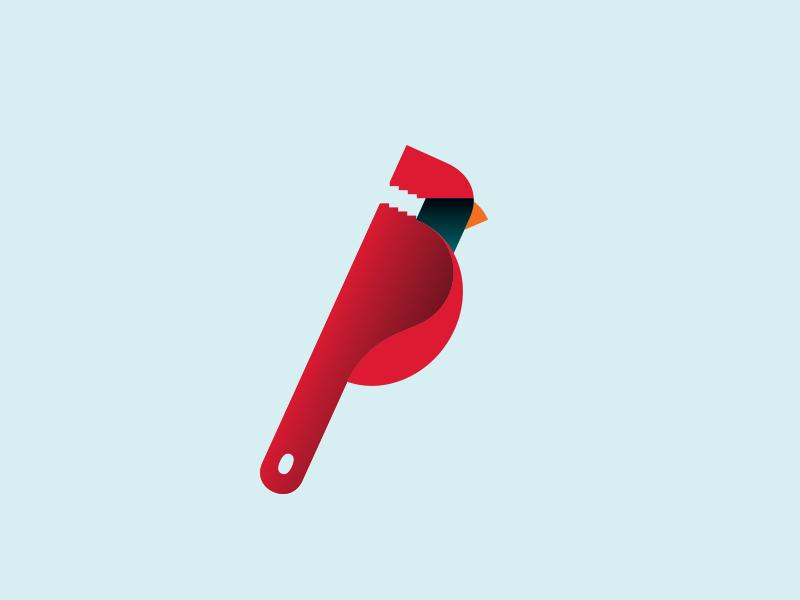 Cardinal symbol plumbing plumber pipe wrench wrench cardinal bird logo