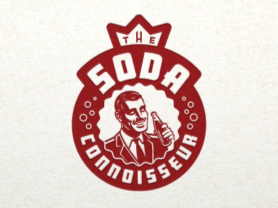 Soda Connoisseur logo illustration illustrative logo man connoisseur gentleman soda bottle bottlecap cap bubbles crown devey jeffrey devey jeff devey emblem