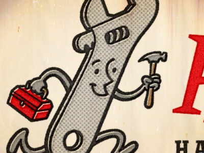Wrench Mascot cartoon mascot character 1950s retro vintage devey jeffrey devey jeff devey