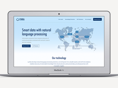 Lymba Front Page smart knowledge usa site page lp landing data nlp icons ux ui