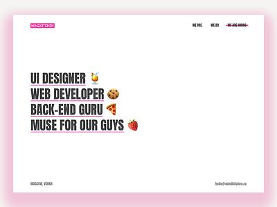 MIND KITCHEN ux clean web studio website interface landing ui