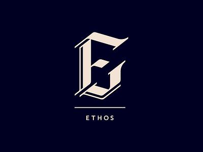 Ethos: E Letter design logo type lettering calligraphy