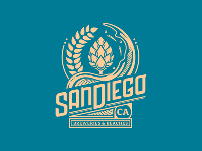 San Diego: Breweries & Beaches hospitality badge design illustration design beer breweries california san diego